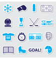Ice hockey sport blue stickers set eps10 vector