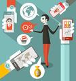 Business man - cell phones - social media symbols vector