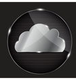 Glass button with cloud icon vector