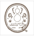 Embroidery with 8 of march date vector
