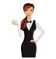 Woman casino dealer portrait vector