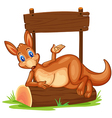 A kangaroo under the empty wooden signboard vector