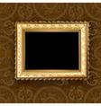 Wooden vintage gold frame vector