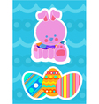 Easter bunny and painted eggs vector
