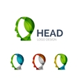 Human head logo design made of color pieces vector