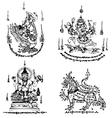 Thai tattoo ancient template vector