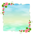 An empty blue template with carnation pink flowers vector