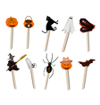 Set of various halloween item on wooden sticks vector