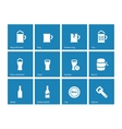 Beer and alcohol glasses icons on blue background vector