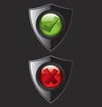 Black shield check mark icons vector