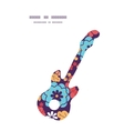 Colorful bouquet flowers guitar music silhouette vector