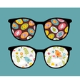 Retro sunglasses with birds reflection in it vector