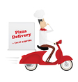 Funny italian chef delivering pizza on red moped vector