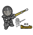 Swordsmanship exercise in boys mascot vector