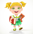 Cute little girl with a teddy bear and a book vector