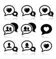 Love speech bubbles couples icons set vector