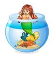 An aquarium with a mermaid vector