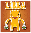 Zodiac sign libra with cute colorful monster vector
