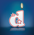 Candle letter d with flame vector