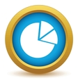 Gold pie chart icon vector