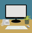Computer and telephone on working desk vector
