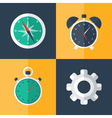 Flat business icons set orange and blue vector