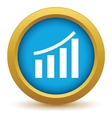 Gold growing graph icon vector