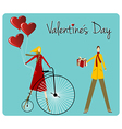 Couple with retro bike valentines day greeting vector