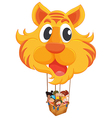 A tiger balloon with a basket full of kids vector