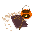 Holy bible with wooden cross and pumpkin lantern vector