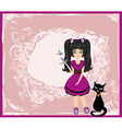 Emo girl and her cat vector