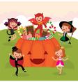 Children at halloween party vector