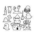 Halloween set - coloring book vector