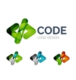 Code icon logo design made of color pieces vector