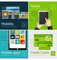 Set of flat design banners mobile business vector