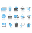 Shopping icons set blue series vector