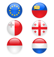 Europe flags buttons part three vector