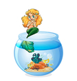 A jar with a mermaid vector