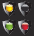 Shield with different color buttons vector
