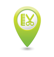 Hairdressing salon icon green map pointer vector