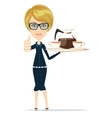 Beautiful girl waitress carries giving the thumbs vector