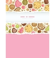 Colorful cookies vertical torn frame seamless vector