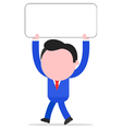 Walking businessman holding placard vector