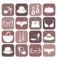 Fashion items icon set vector