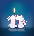 Candle letter n with flame vector