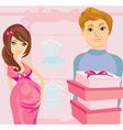 Beautiful pregnant woman and her happy husband on vector