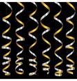 Holiday silver serpentine ribbons set vector