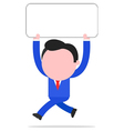 Running businessman holding placard vector