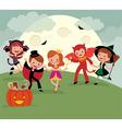 Children on halloween night party vector