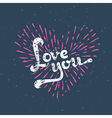 Grunge love card - with sunbirst vector